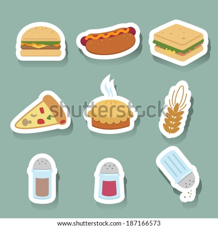 fast food icons set - stock vector