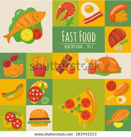 Fast food icons set in flat style.  Food poster. Food infographic. Healthy food - stock vector