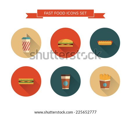 Fast Food icons set on isolated background. Modern color. Flat design with  long shadows. Minimalistic style. - stock vector