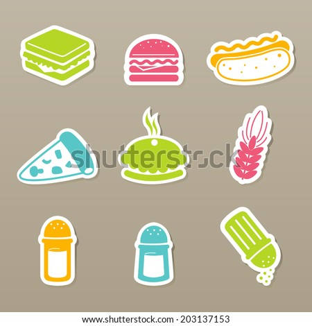 fast food icons set vector - stock vector