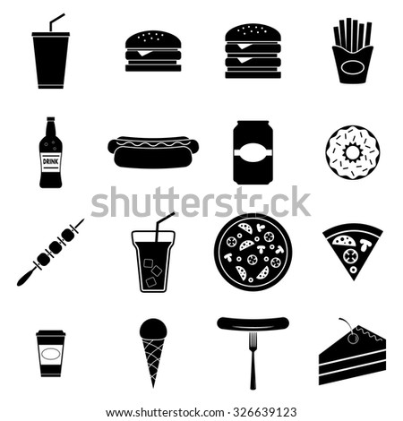 Fast food icons set, vector illustration - stock vector
