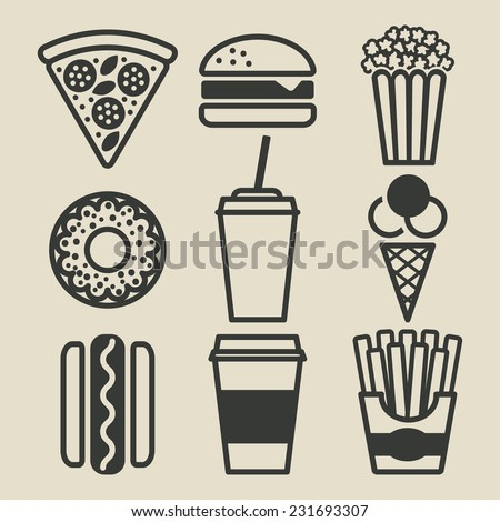Fast food icons set - vector illustration. eps 8 - stock vector