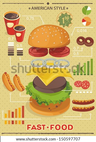Fast food info graphics. Elegance Retro Cards for Fast Food Menu - stock vector