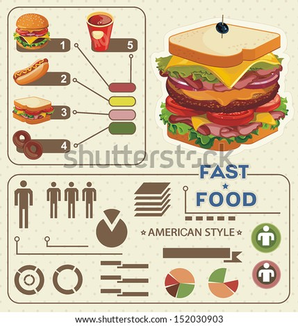 Fast-food info graphics. Elegance Retro Illustration with food icons - stock vector