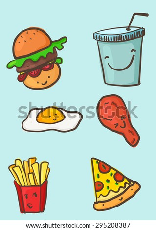 fast food is very happy - stock vector
