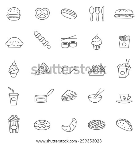 Fast food  line icons set.Vector - stock vector