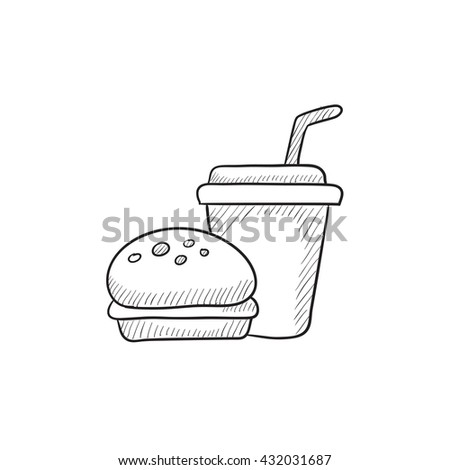 Fast food meal vector sketch icon isolated on background. Hand drawn Fast food meal icon. Fast food meal sketch icon for infographic, website or app. - stock vector