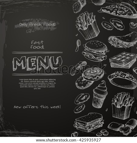 Fast food menu drawn on the chalkboard. Sketch vector illustration. Fast food restaurant.. Hamburger, hot dog, sandwich, snacks, waffles, pizza, french fries, ice cream, donuts, burger, sauce - stock vector