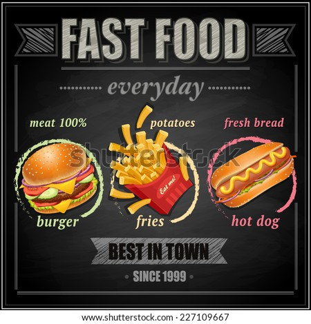 Fast food menu - vector illustration - stock vector
