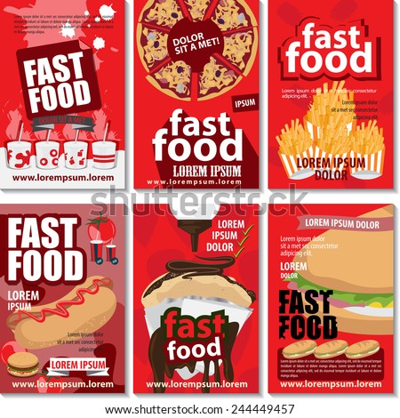 Fast Food Placard Template Set - Vector Illustration, Graphic Design, Editable For Your Design    - stock vector