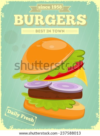 Fast Food Poster in Retro Design Style with Hamburger. Big Burger. Vector Illustration. - stock vector
