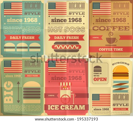 Fast Food Posters Collection in Retro Design Style. Burgers and Hot-dogs. Vector Illustration. - stock vector