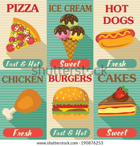 Fast food posters set with flat design. Vector background  - stock vector