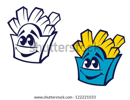 Fast food potato snack in cartoon style for refreshment concept, such a logo template. Jpeg version also available in gallery - stock vector