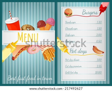 Fast food restaurant menu with burgers and hotdogs vector illustration - stock vector