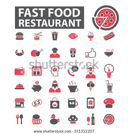 fast food restaurant, pizza, cafe, sushi icons - stock vector