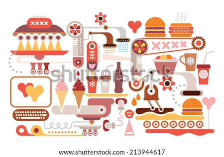 Fast Food Restaurant - vector illustration. Isolated on white. Catering industry. - stock vector