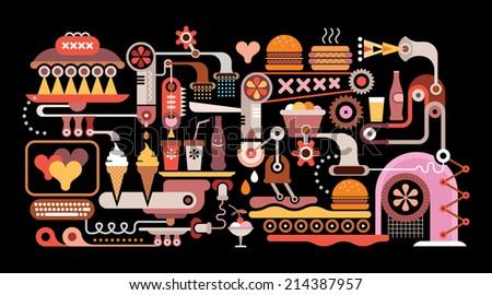 Fast Food Restaurant - vector illustration on black background. Catering industry. - stock vector
