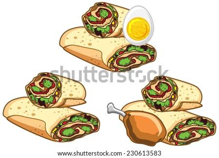 Fast Food - Rolls Set - stock vector