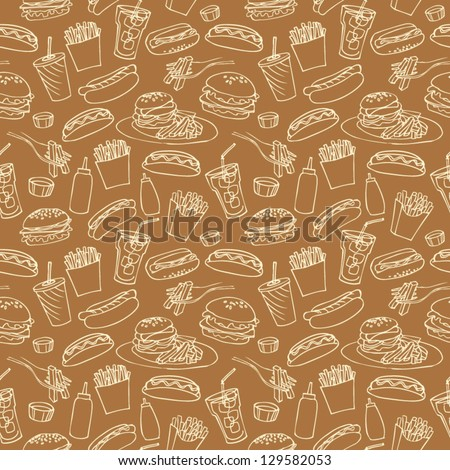 Fast food seamless background - stock vector