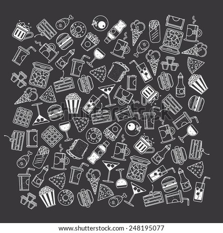 Fast food, seamless pattern - stock vector