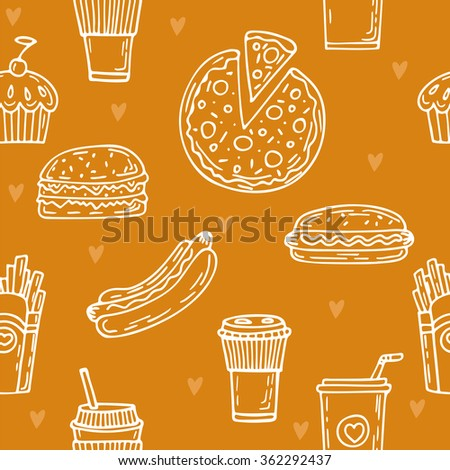 Fast food seamless pattern. Hand drawn food background. Background template for restaurant design. Hot dog, hamburger, cupcake, coffee, pizza. Vector illustration - stock vector