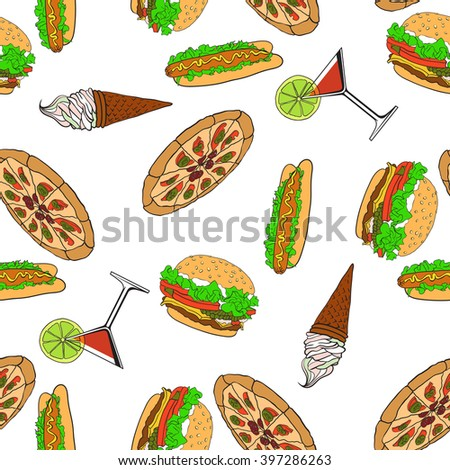 Fast food. Seamless pattern. Vector - stock vector
