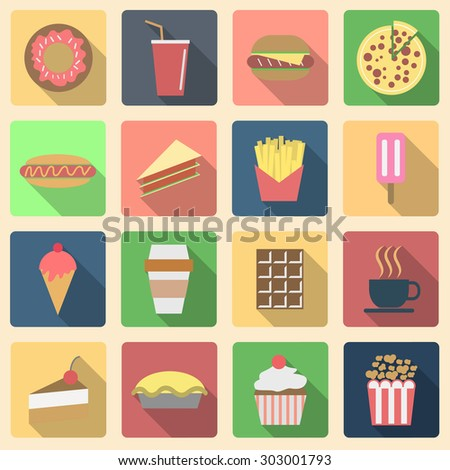 Fast food set, long shadow icons  - stock vector