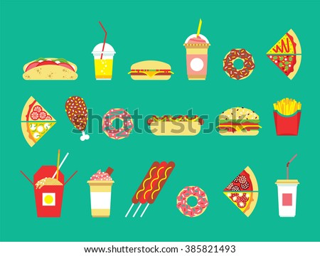 Fast food set. Vector fast food restaurant. Isolated fast food set. Flat fast food icons set. Vector fast food snakes. Restaurant junk food. Isolated fast food icons. - stock vector