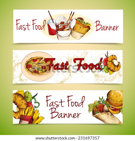 Fast food sketch horizontal banners set with french fries chicken sandwich isolated vector illustration - stock vector