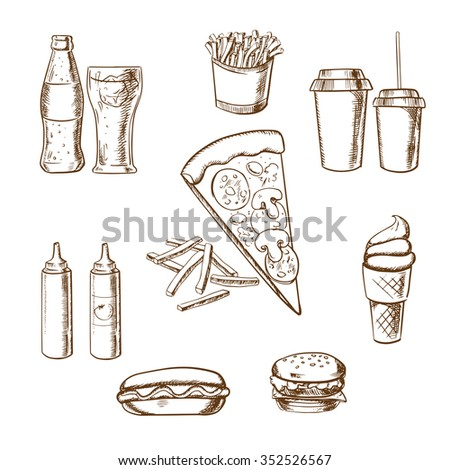 Fast food sketches with pizza and french fries surrounded by a cheeseburger, coffee, soda, potato chips, hot dog, ice cream cone and condiments - stock vector