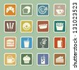 Fast Food sticker icon set.Illustration eps10 - stock vector