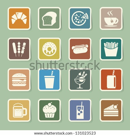 Fast Food sticker icon set.Illustration eps10 - stock vector