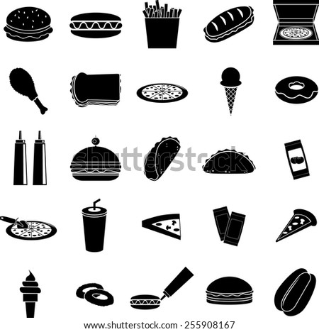 fast food symbols set - stock vector