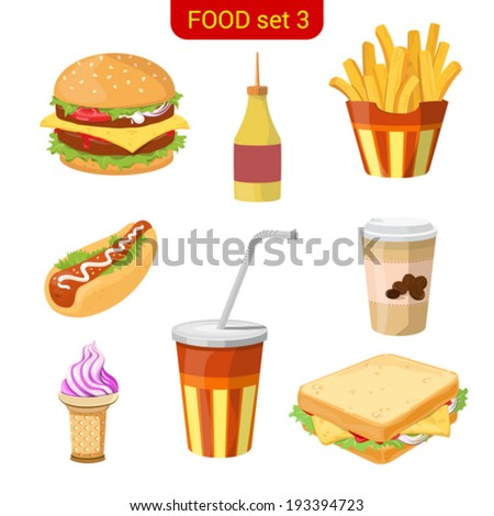 Fast food vector icon set. Burger, fried potato, hot dog, coffee, cola, ice cream, sandwich.  Food collection. High detail. - stock vector