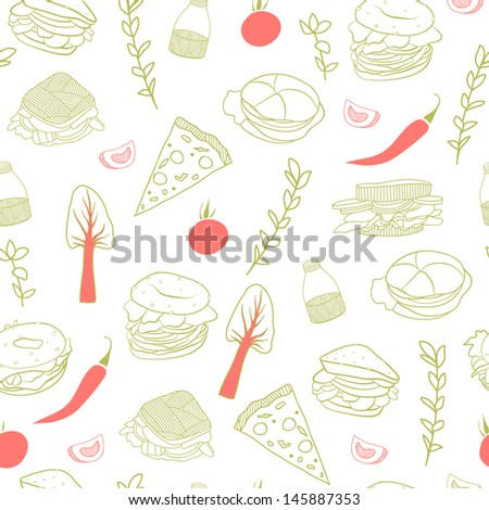Fast food vector seamless pattern. Good for backgrounds, fabric, kitchen and cafe stuff - stock vector