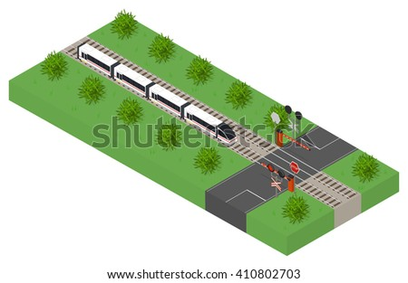 Fast isometric modern train. Public transport. High-speed intercity transportation of passengers. The barrier at the intersection. The landscape along the railway. Traffic light. Vector illustration. - stock vector