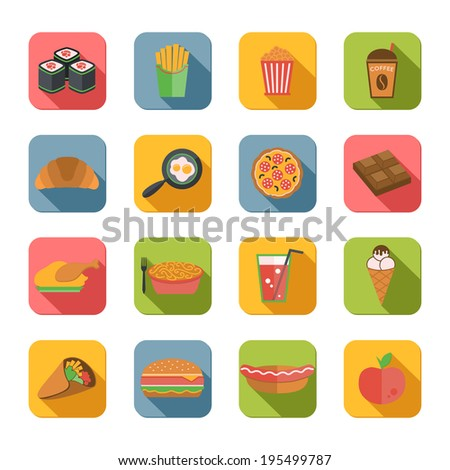 Fast junk food icons flat set of popcorn coffee croissant eggs isolated vector illustration - stock vector