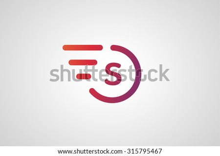Fast line S letter circle logo. S and rings monogram. Vector S circle. Circle O and S letter design. Abstract S letter. Round rings. Ring circle symbol. Thin line circle.  Transport car circle icon - stock vector