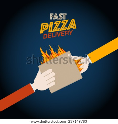 Fast pizza delivery design - stock vector