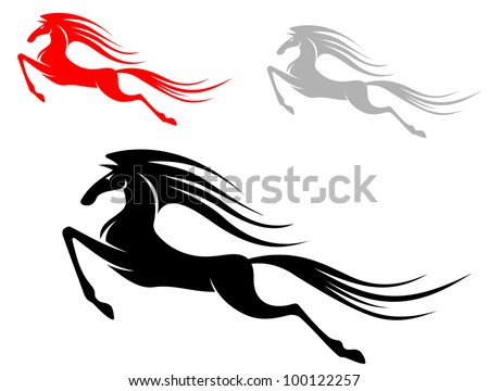Fast running mustang horse isolated on white background. Jpeg version also available in gallery - stock vector