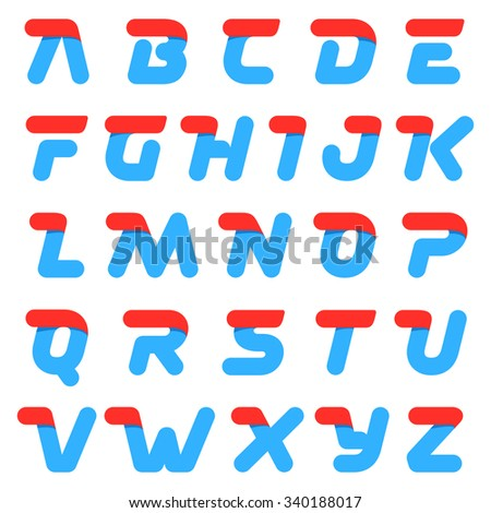 Fast speed alphabet round letters. Design template elements for your application or corporate identity. - stock vector