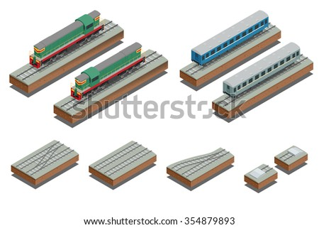 Fast Train coach and diesel electric locomotive. Vector isometric illustration of a Fast Train. Vehicles designed to carry large numbers of passengers. Flat Style. - stock vector