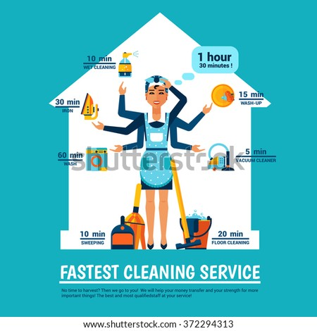 Fastest cleaning service design concept with woman in apron and cleaning tools at house silhouette background vector illustration  - stock vector
