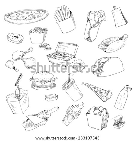 Fastfood collection. Set of hand drawn graphic illustrations - stock vector