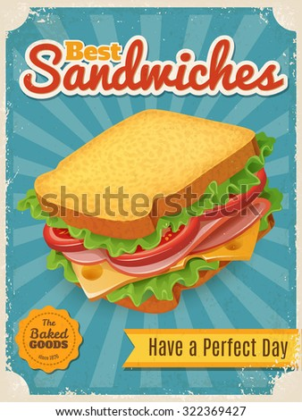 Fastfood poster. Vintage style vector Best Sandwiches poster. High detailed vector sandwich illustration. - stock vector