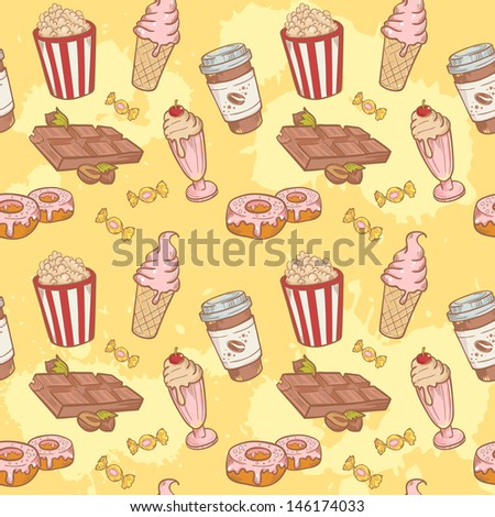 Fastfood sweets delicious hand drawn vector seamless pattern with tasty ice cream, Popcorn and chocolate - stock vector