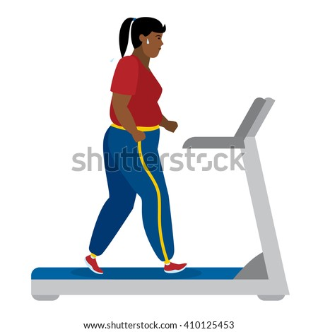 Fat african american girl running on treadmill on white. Keep fit and healthy. Motivational. Training activity. African american character. Workout motivation and inspiration.   - stock vector