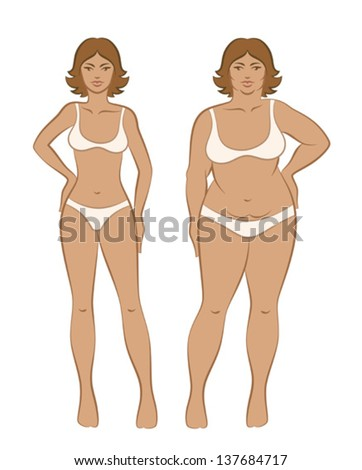 Fat and slim woman - stock vector