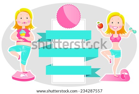 Fat and Thin Girl (Before and After) - Vector - stock vector
